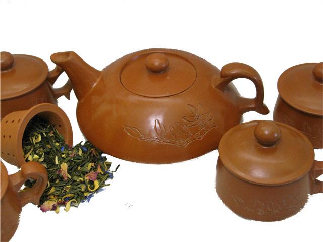 Juego de té en barro