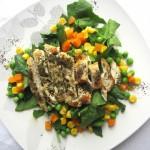 Ensalada de pollo con Té verde