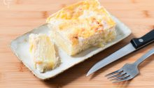 Patatas gratinadas con bechamel al milky oolong